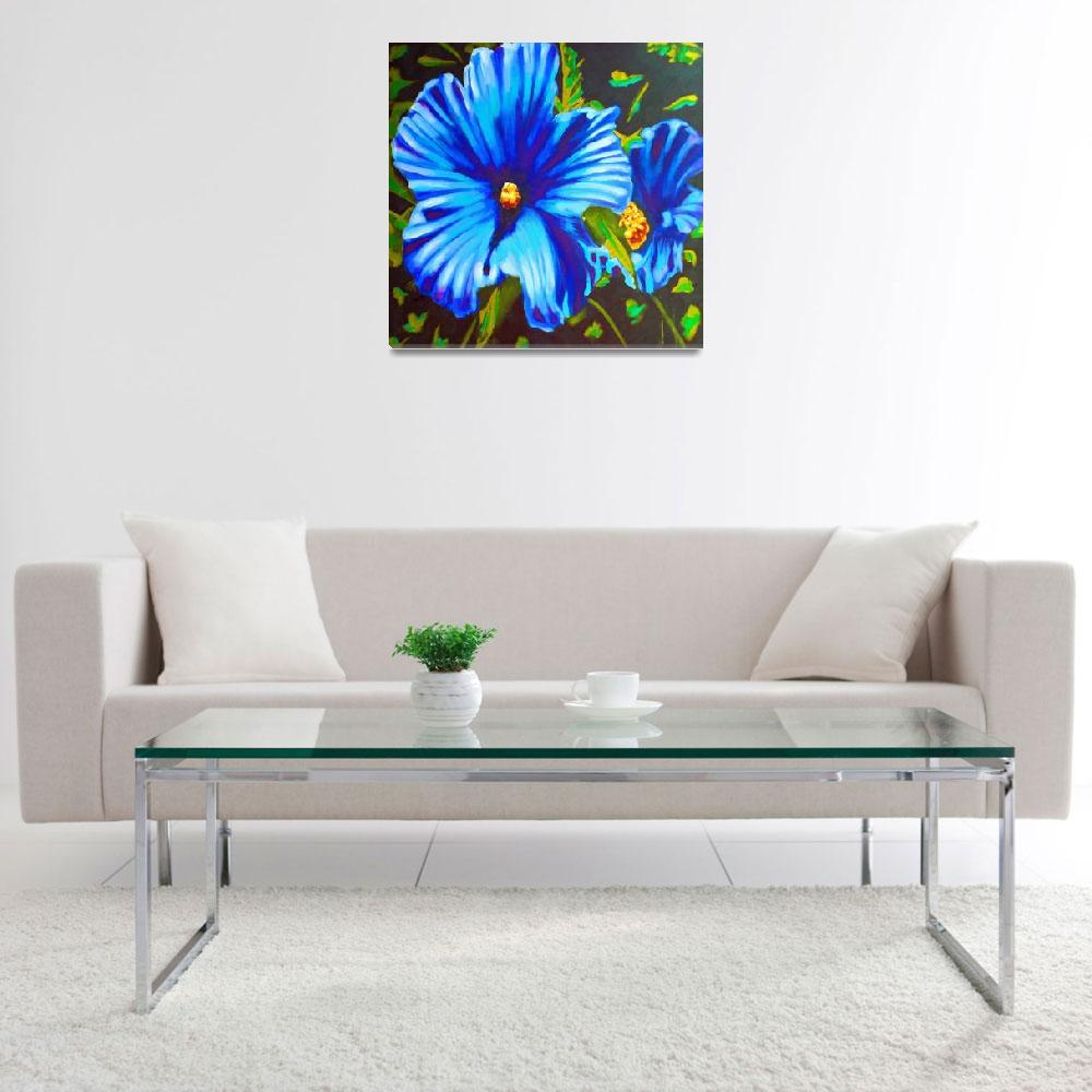 """""""Blue Hibiscus&quot  (2017) by SusiFrancoArt"""