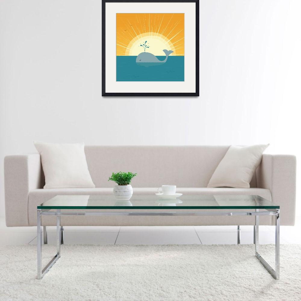 """""""Whale at sunset&quot  (2012) by eligri"""