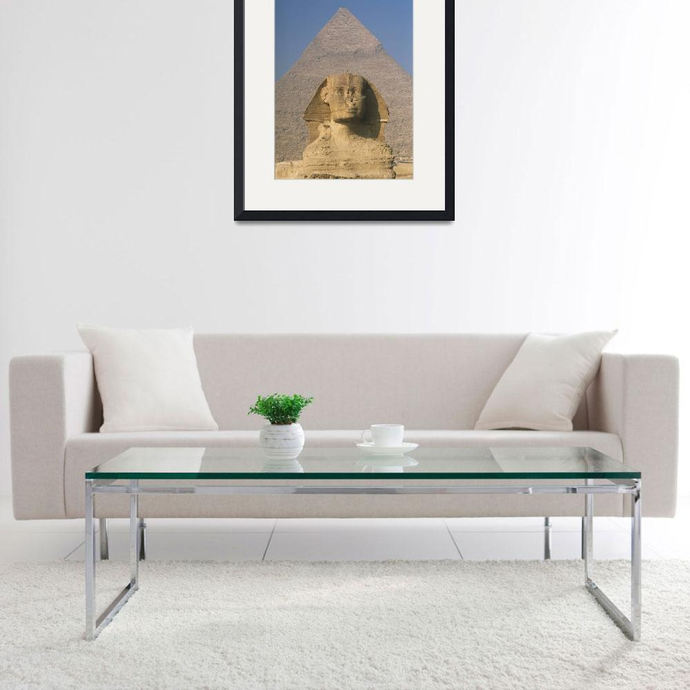 """Sphinx In Front Of Great Pyramid Of Chephren Giza&quot  by DesignPics"