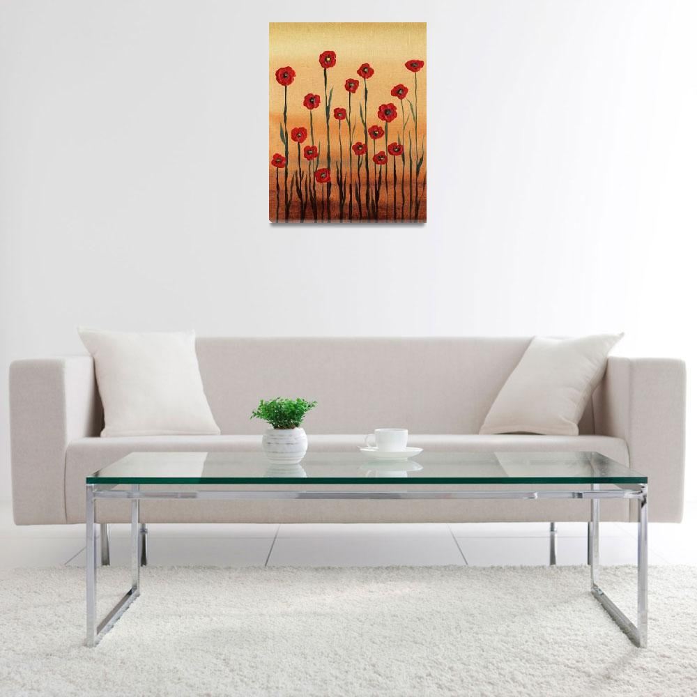 """Red Poppies Abstract Painting Decor&quot  (2016) by IrinaSztukowski"