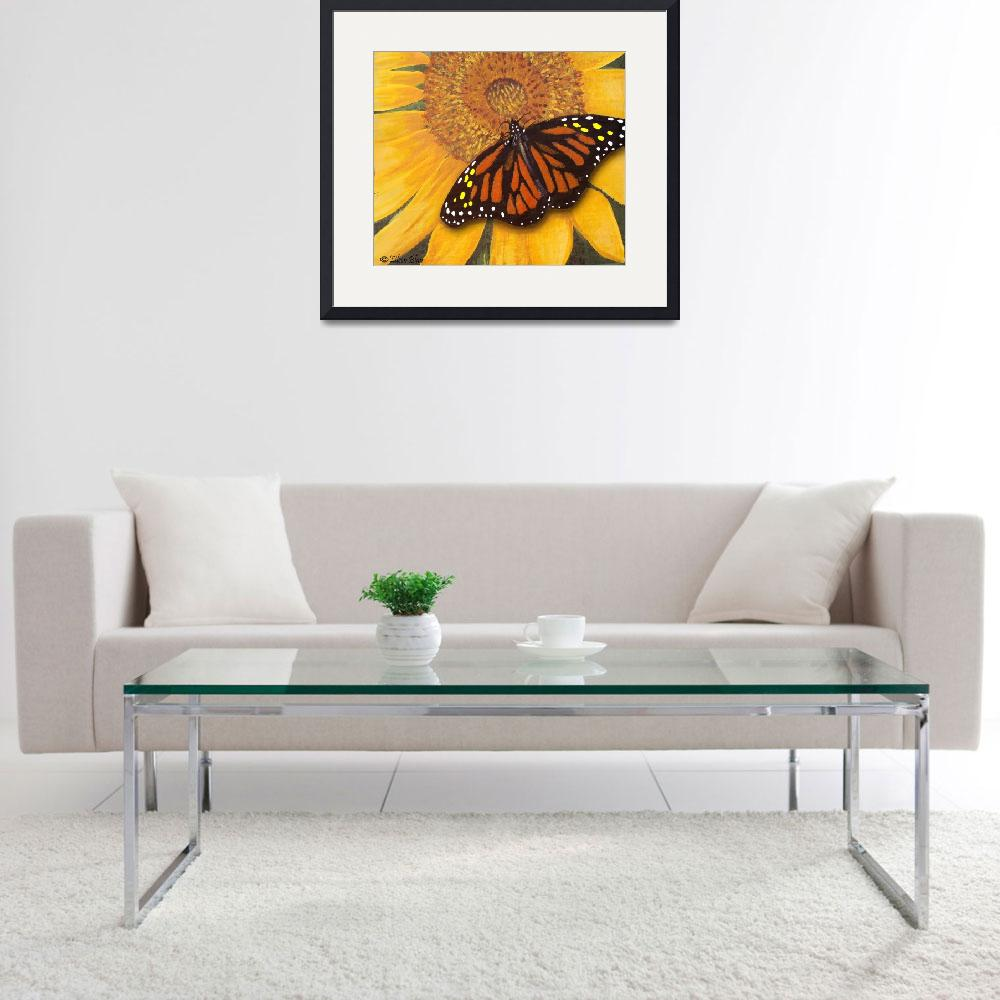 """Sunflower & Butterfly Painting""  (2009) by EMBlairArtwork"