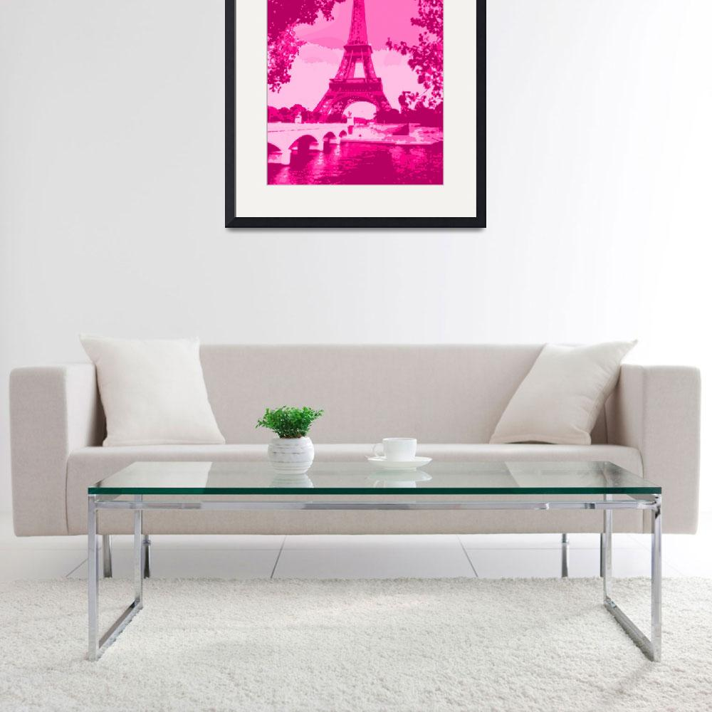 """""""Eiffel Tower Seine River Enhanced Pink Cropped&quot  (2013) by TheNorthernTerritory"""