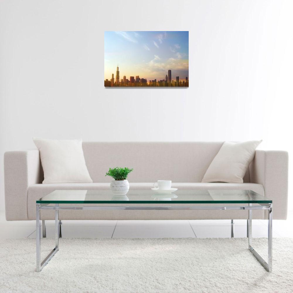 """""""Chicago skyline at sunset&quot  by Mazzocco"""