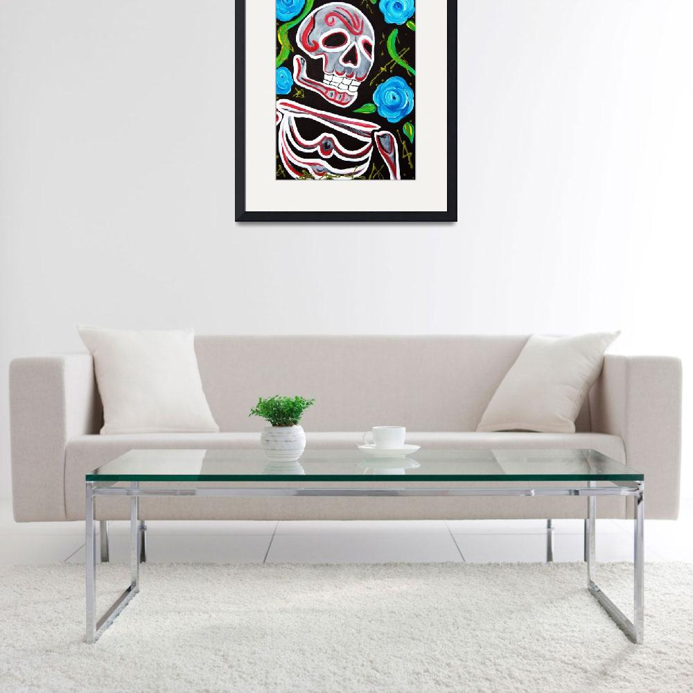 """Red Skull N Roses&quot  (2012) by ArtPrints"