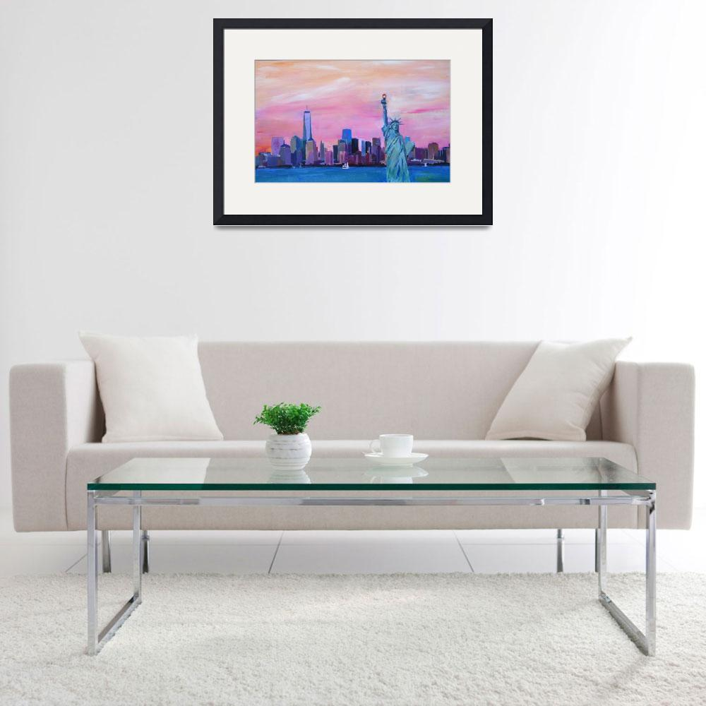 """""""Manhattan Skyline with Downtown Skyline Lady Liber&quot  (2015) by arthop77"""