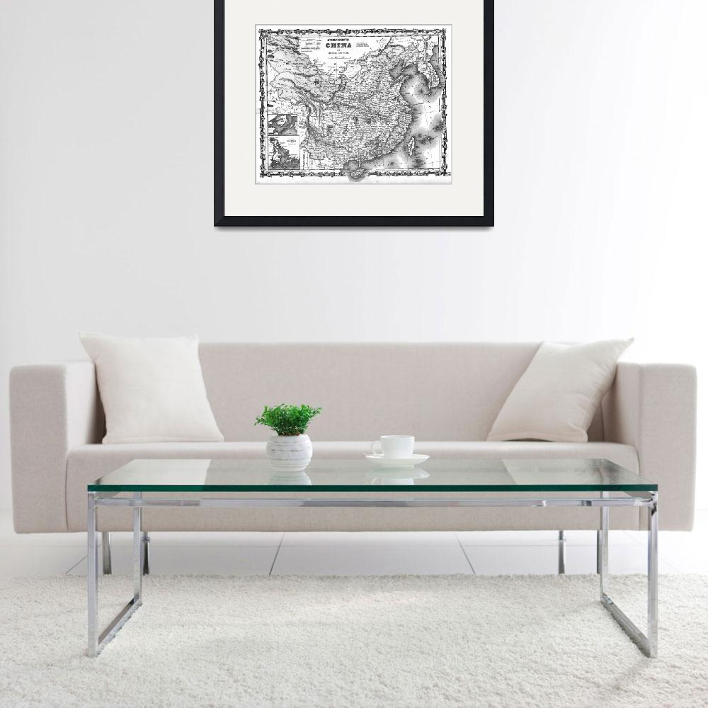 """Vintage Map of China (1862) BW""  by Alleycatshirts"