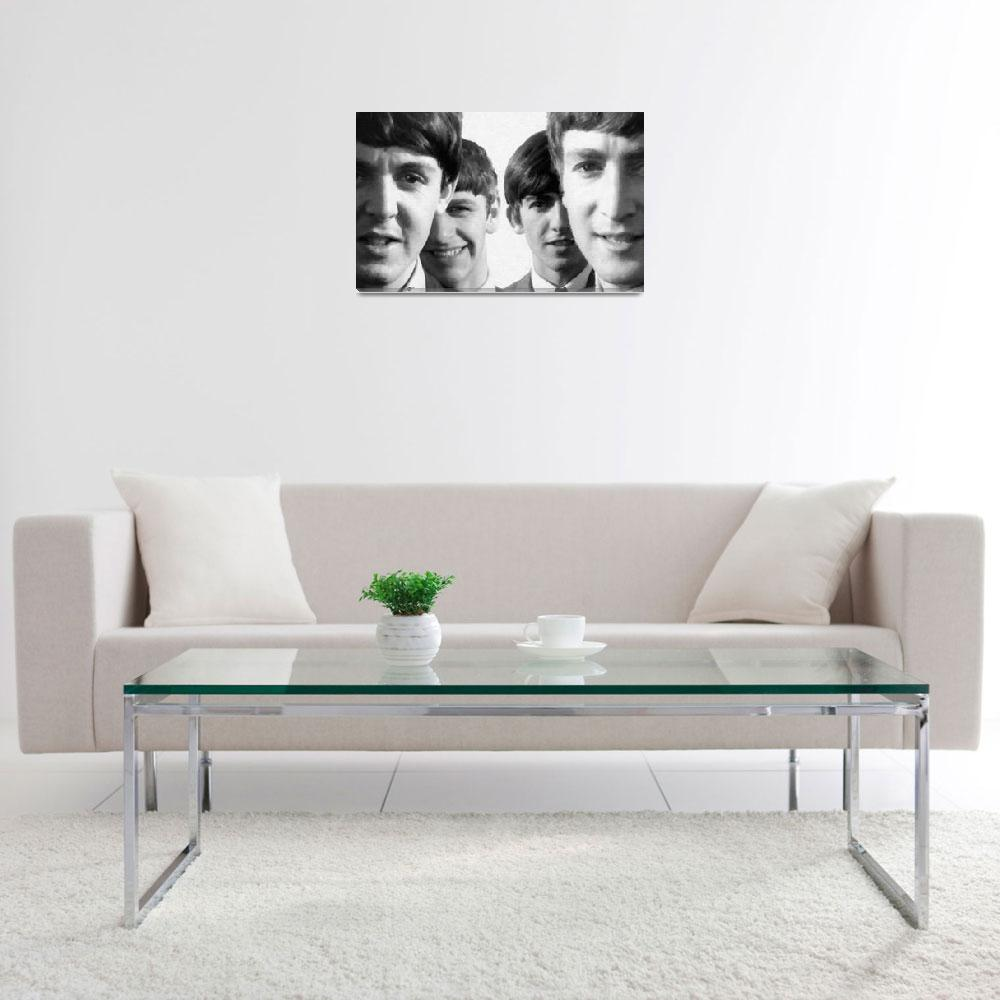"""""""The Beatles Painting 1963 Black And White&quot  by RubinoFineArt"""