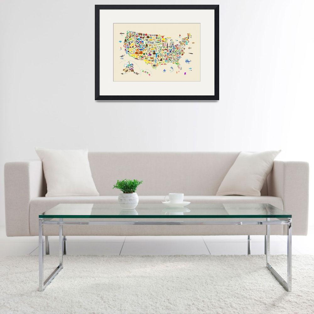 """""""Animal Map of United States for children and kids&quot  (2018) by ModernArtPrints"""