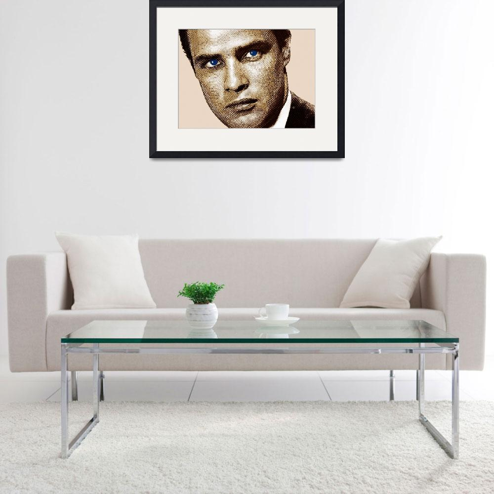 """Young Marlon Brando Etching Sepia Gold""  by RubinoFineArt"