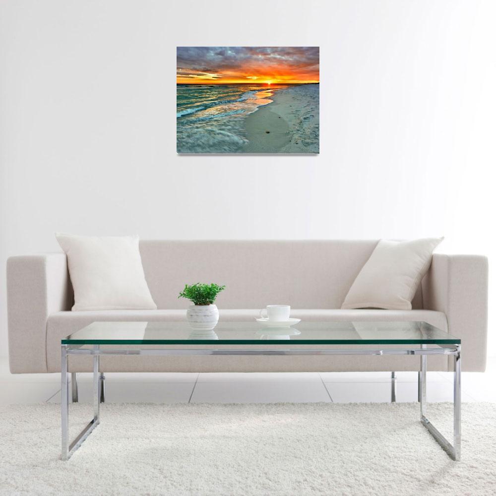 """Orange Sunset Green Waves Beach Fine Art Prints&quot  (2010) by eszra"
