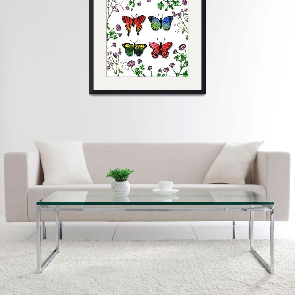 """Butterflies And Wildflowers Watercolor Collection""  (2018) by IrinaSztukowski"