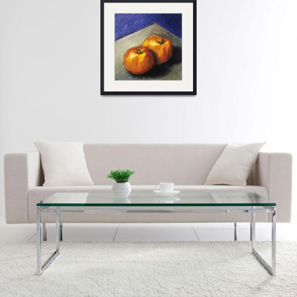 """""""Two Apples with Blue and Grey&quot  (2005) by Michelle1991"""