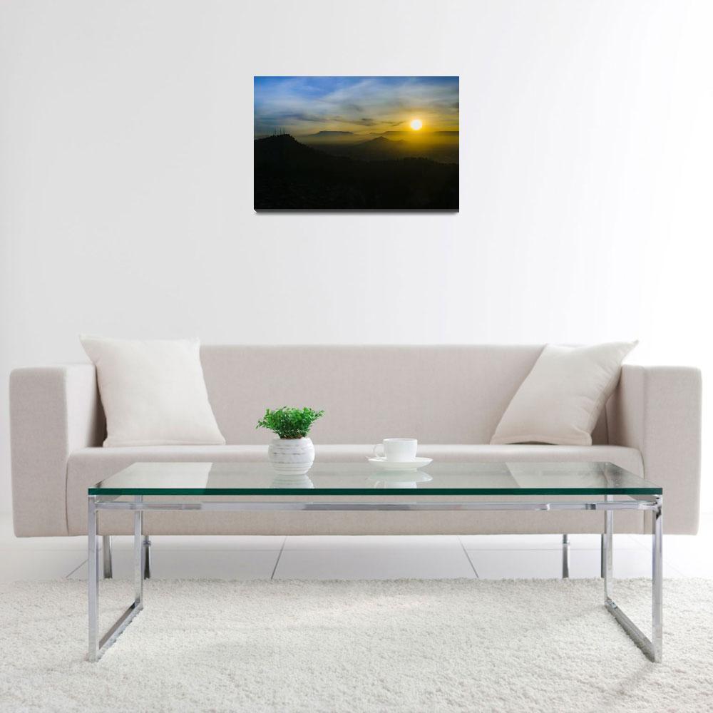 """Sunset Scene Santiago de Chile Aerial View 003""  (2018) by danfleitesart"