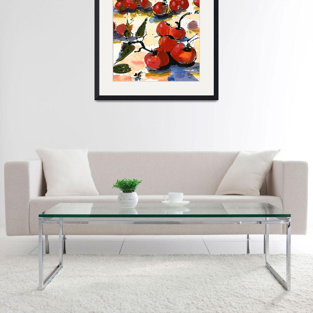 """""""Modern Cherries Square Watercolor by Ginette""""  (2011) by GinetteCallaway"""