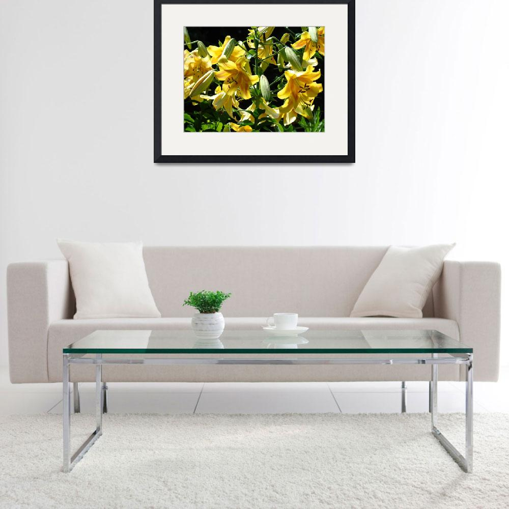 """""""LILIES Yellow Lily Flowers Art Prints Floral Basle&quot  (2009) by BasleeTroutman"""