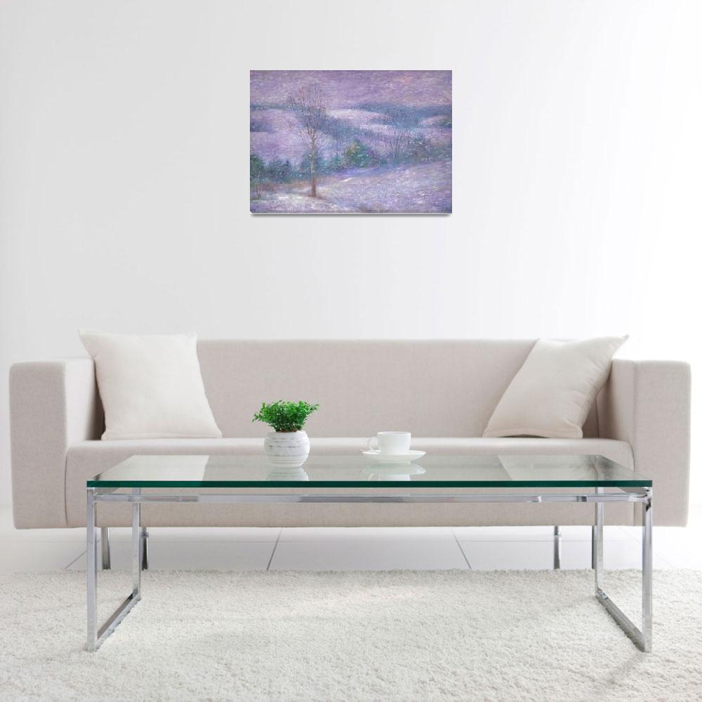 """Lavender Impressionist snowscape&quot  (2008) by judithcheng"