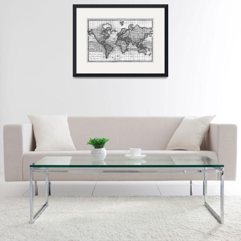 """""""Black and White World Map (1780)&quot  by Alleycatshirts"""