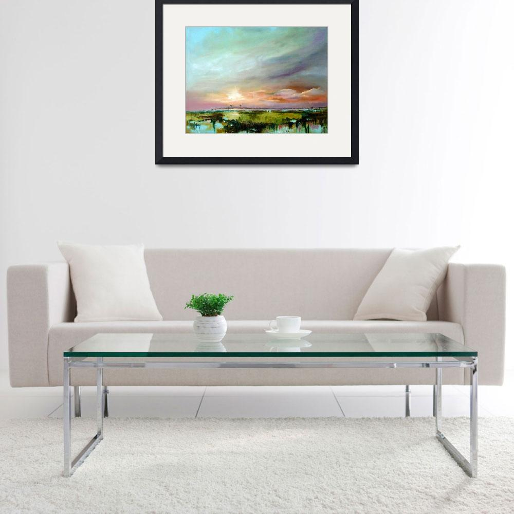 """""""Salt Marsh Sunset Original Oil Painting by Ginette&quot  (2004) by GinetteCallaway"""