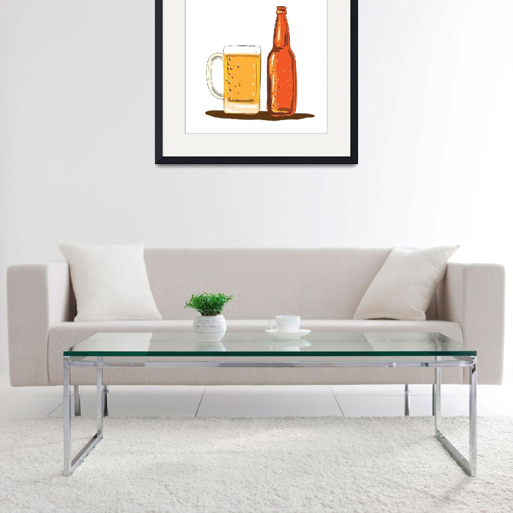 """Craft Beer Bottle and Mug Watercolor&quot  (2017) by patrimonio"
