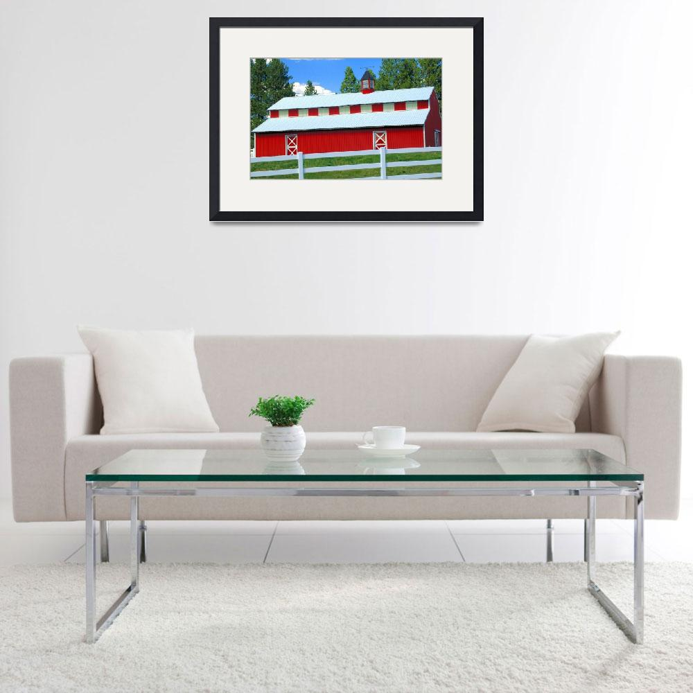 """""""Red Barn, White Fence, Blue Sky&quot  by budo"""