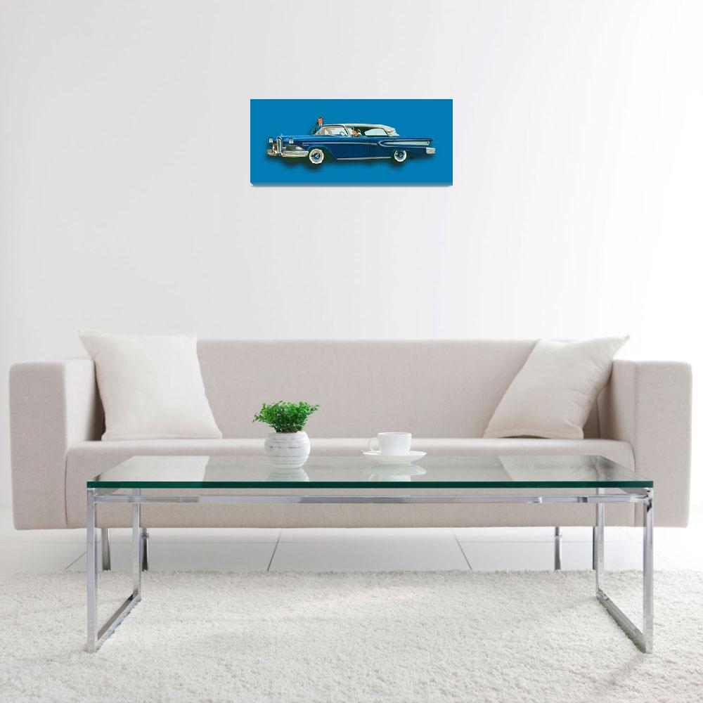 """Edsel Citation Car Advertisement Sedan Blue""  (2018) by RubinoFineArt"