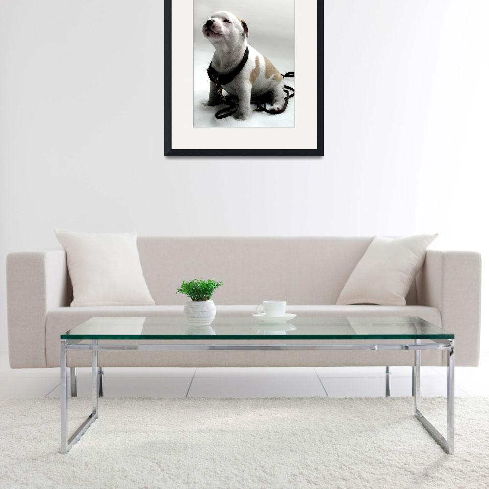 """""""Staffordshire Bull Terrier Puppy, Watercolor style""""  (2008) by ModernArtPrints"""