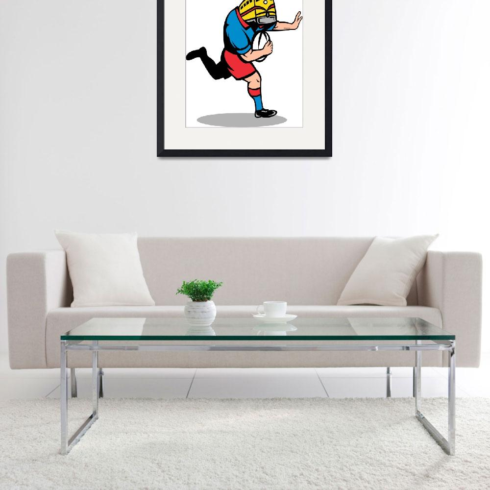 """rugby player train mascot running fending ball&quot  (2013) by patrimonio"