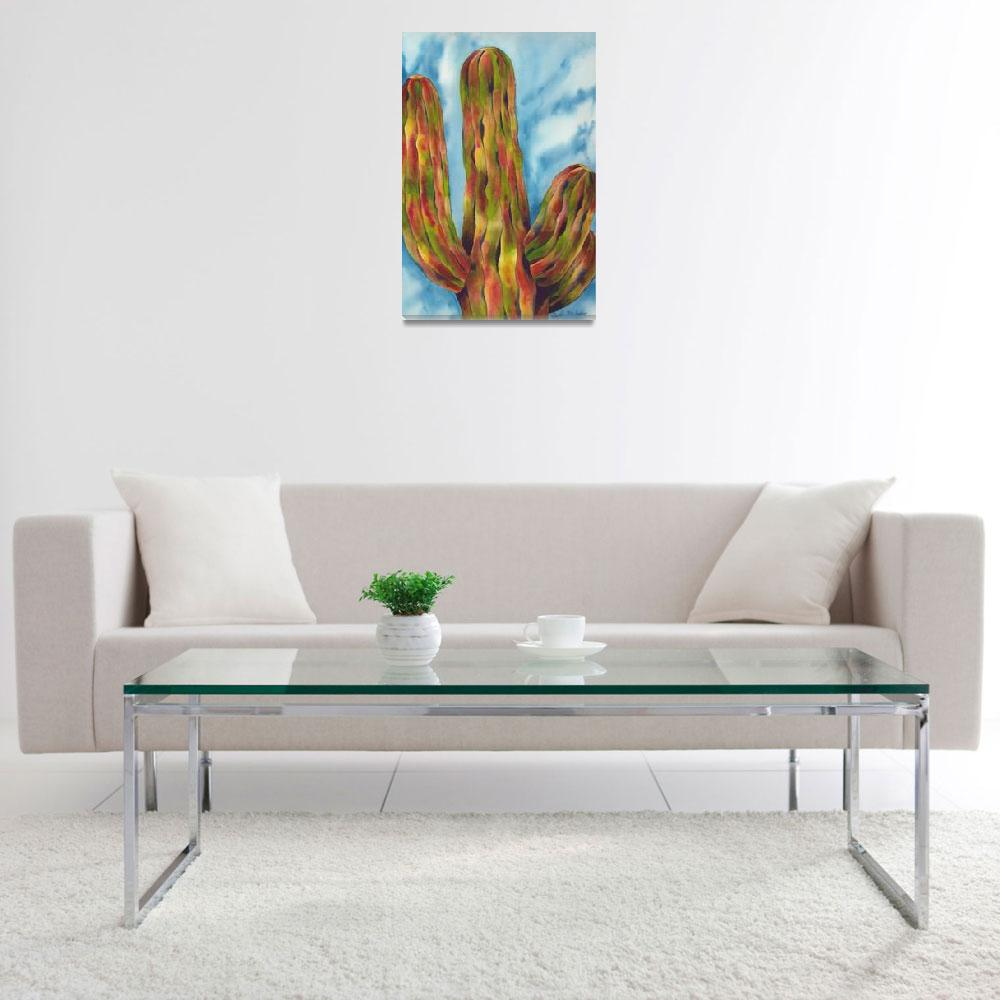 """The Grand and Towering Saguaro Cactus Watercolor""  by GayelaChapman"