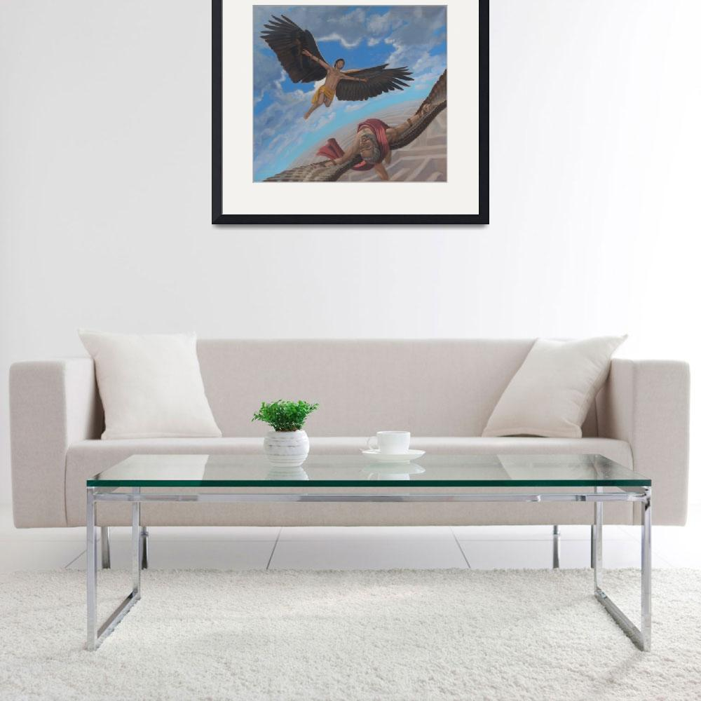"""Icarus and Daedalus&quot  (2011) by claudebuckleyfineart"