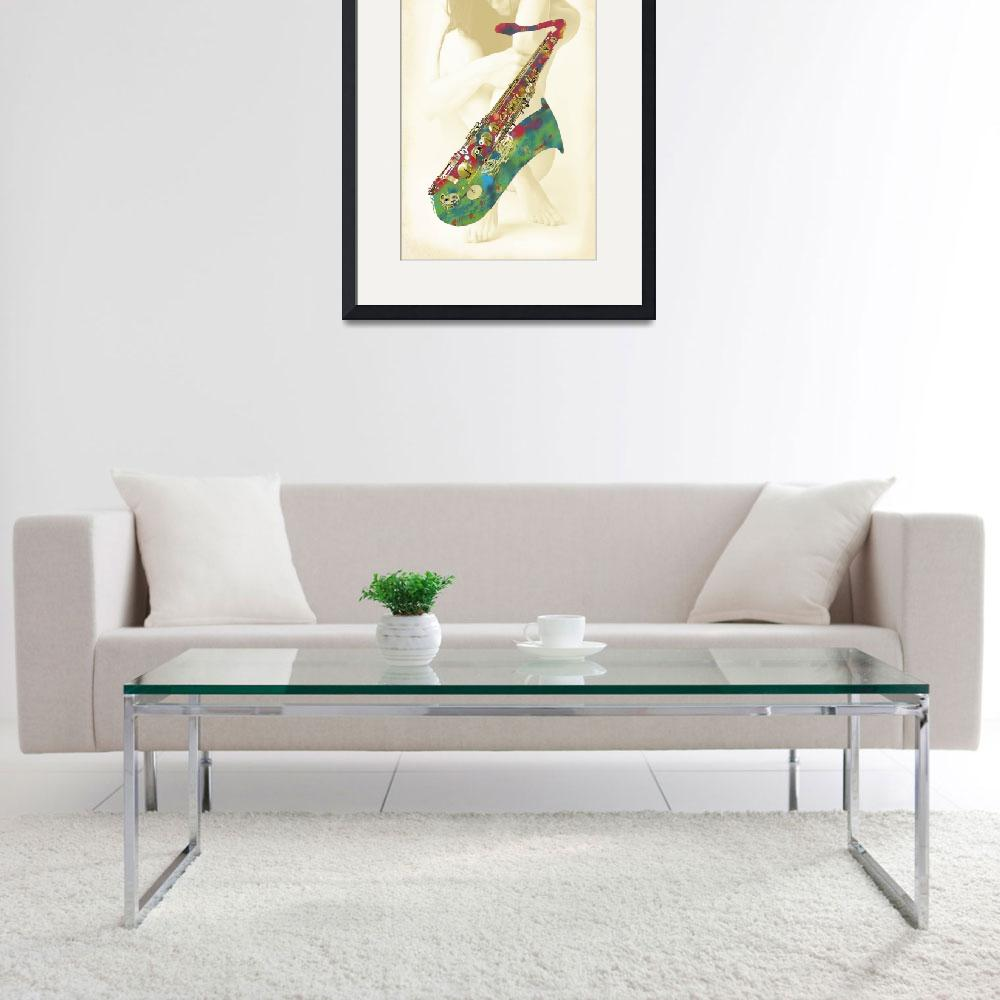 """Saxophone with nude - stylised drawing art poster""  (2013) by visualharbour"