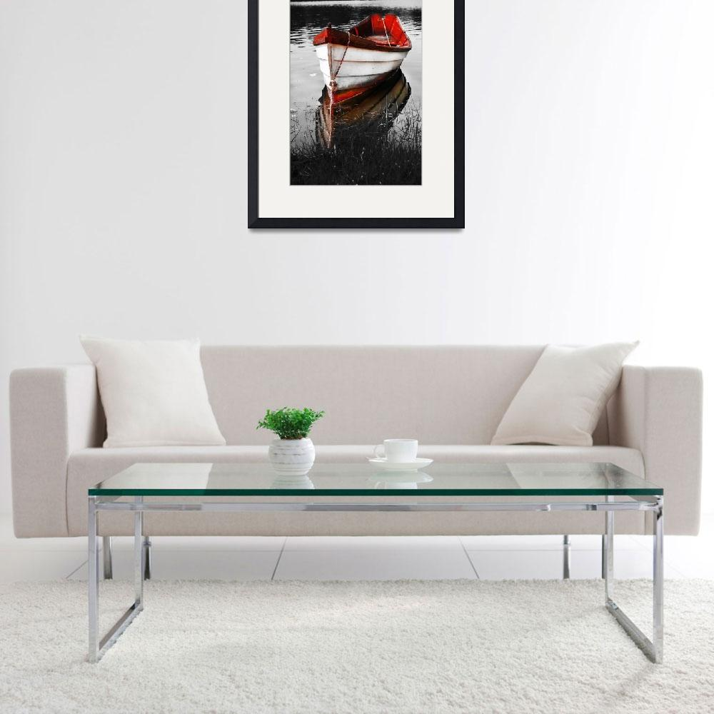 """""""Black and White Red Boat&quot  (2008) by Black_White_Photos"""