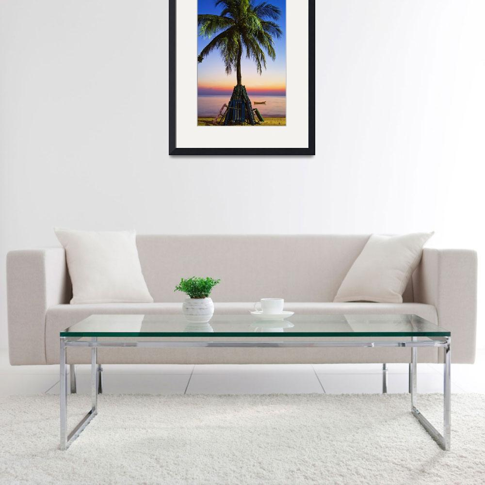"""""""Palmtree at sunset beach in Thailand&quot  (2008) by ingojez"""
