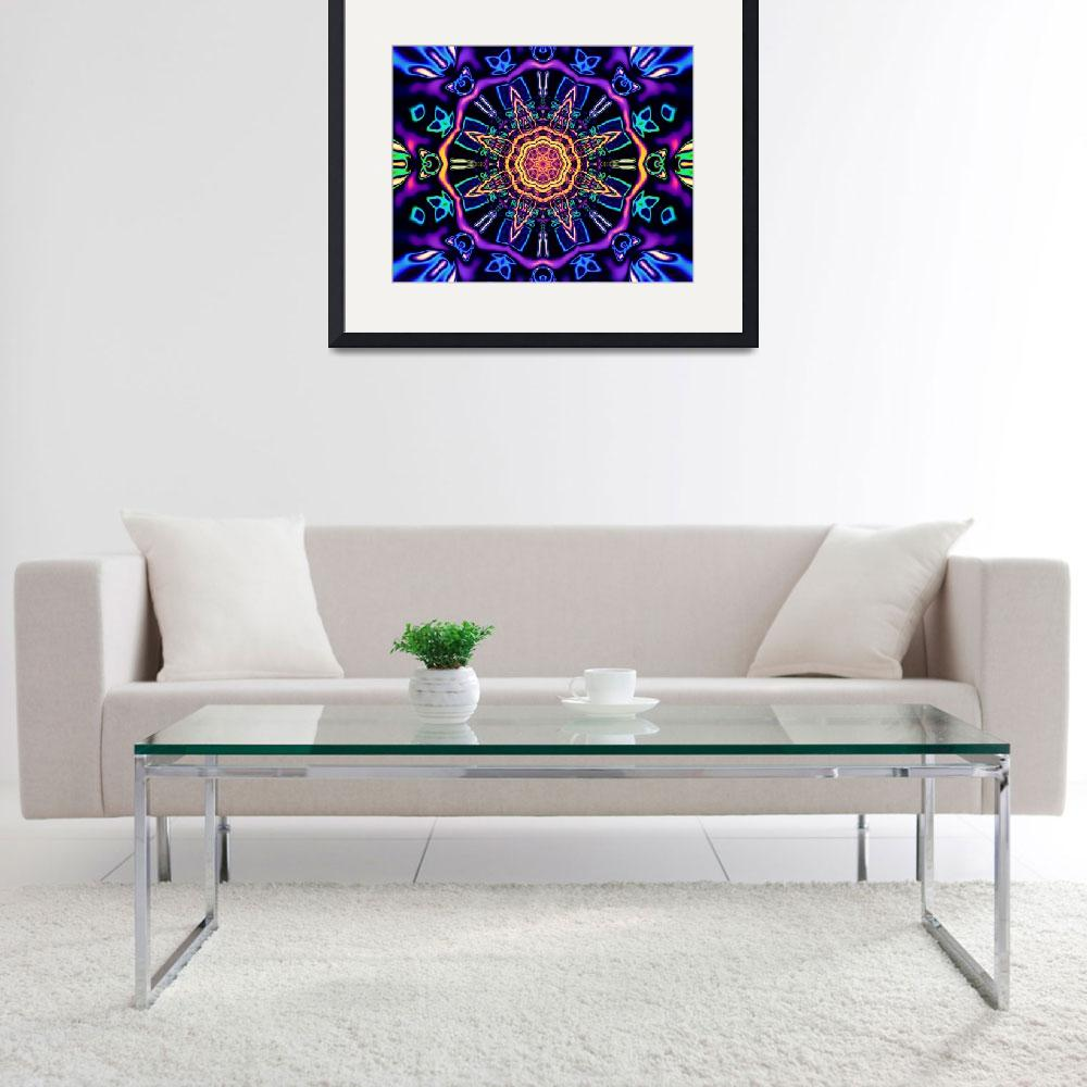 """""Return to Awe"" - Psychedelic Abstract Mandala&quot  (2015) by LeahMcNeir"