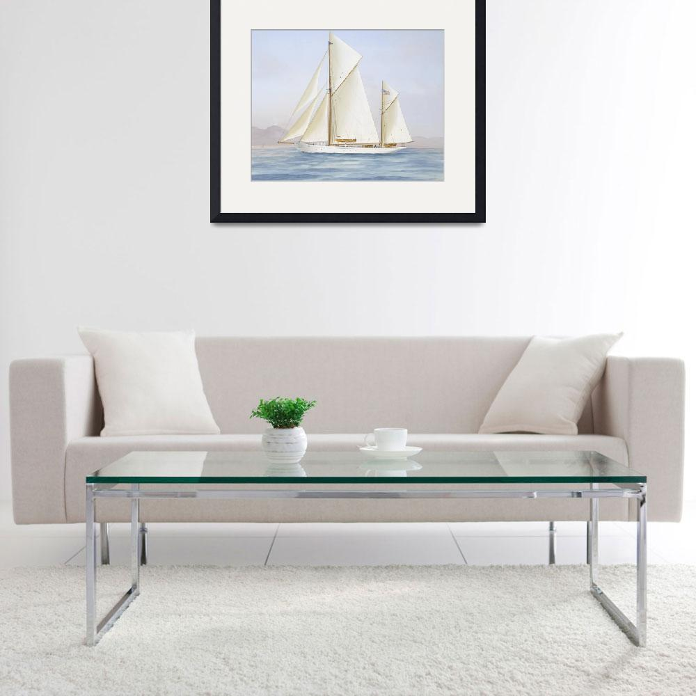 """""""Vintage Racing Ketch Sailboat Illustration (1913)&quot  by Alleycatshirts"""