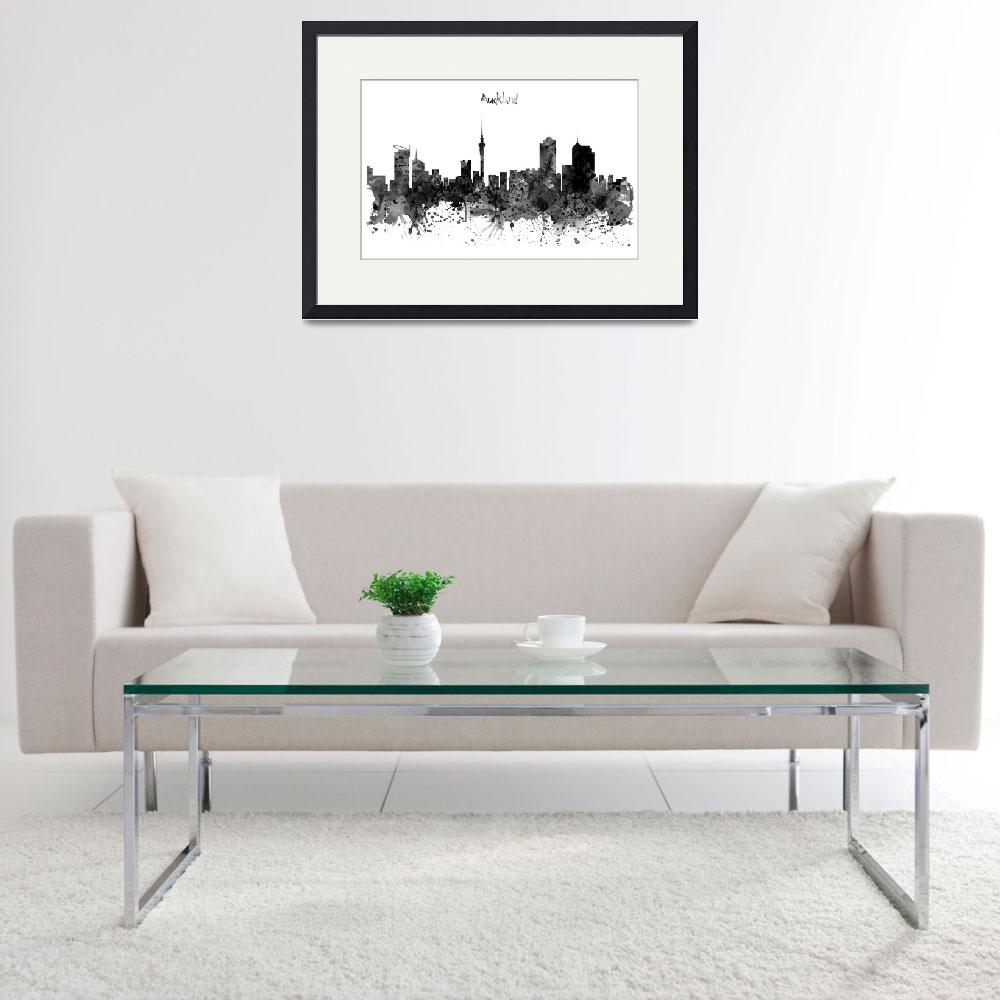 """""""Auckland Black and White Watercolor Skyline&quot  (2016) by MarianVoicu"""