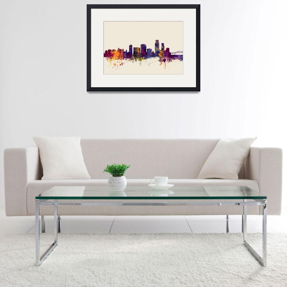"""Corpus Christie Texas Skyline&quot  (2015) by ModernArtPrints"