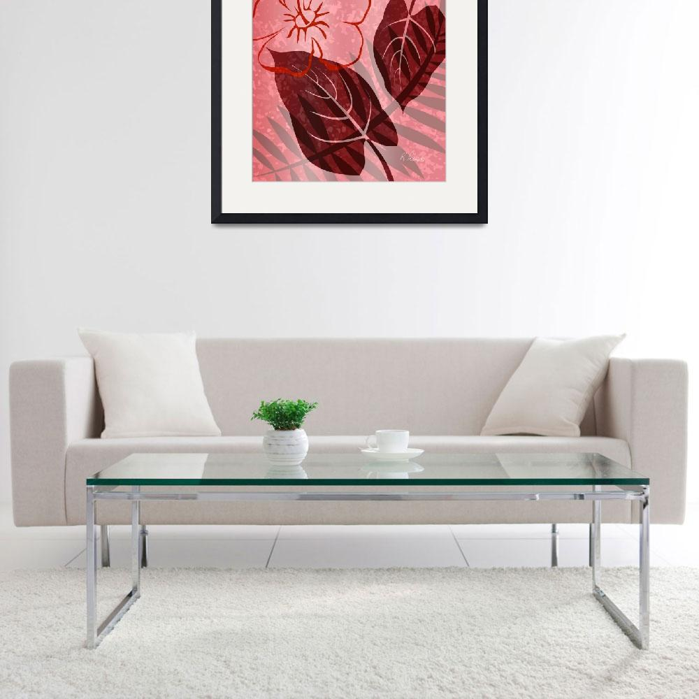 """""""Pink Poster Floral&quot  (2011) by RuthPalmer"""