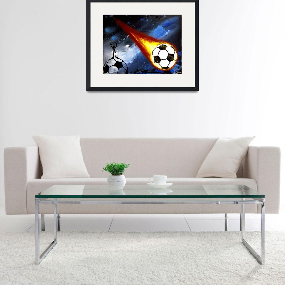 """WORLD CUP SOCCER ART FLAMING SOCCER BALL&quot  (2006) by teofaith"