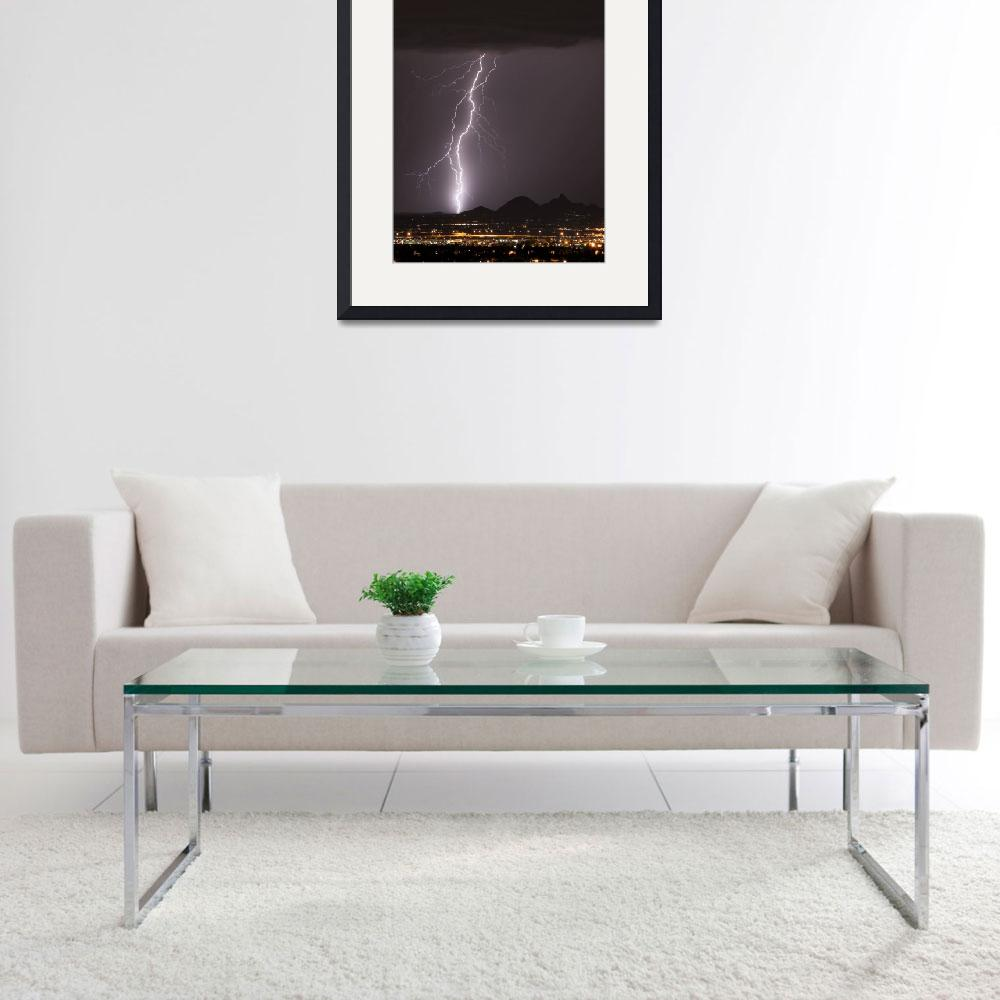 """North Scottsdale Lightning Strike - Vertical Image&quot  (1992) by lightningman"