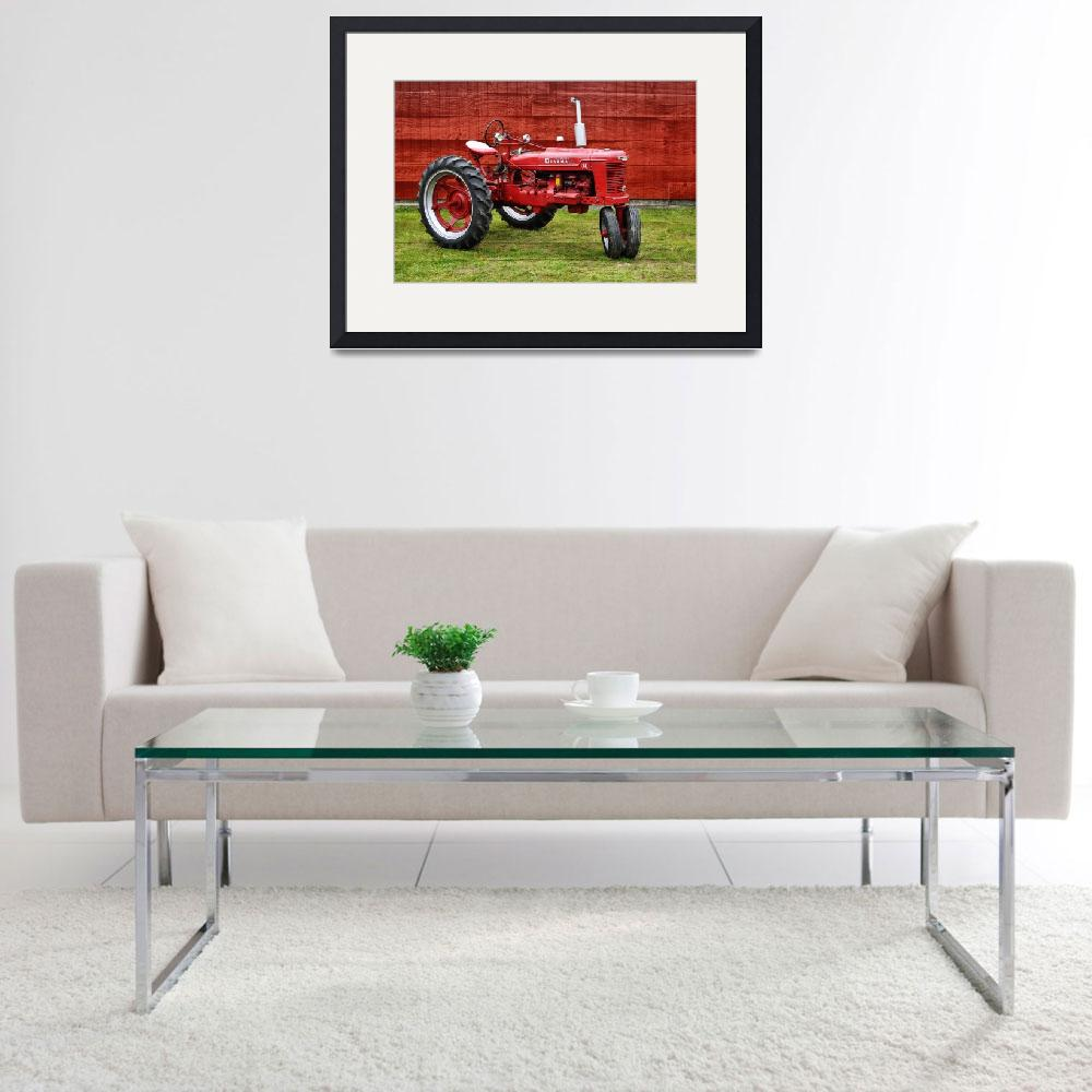 """""""Vintage Farmall Tractor with Barnwood&quot  (2017) by LukeMoore"""