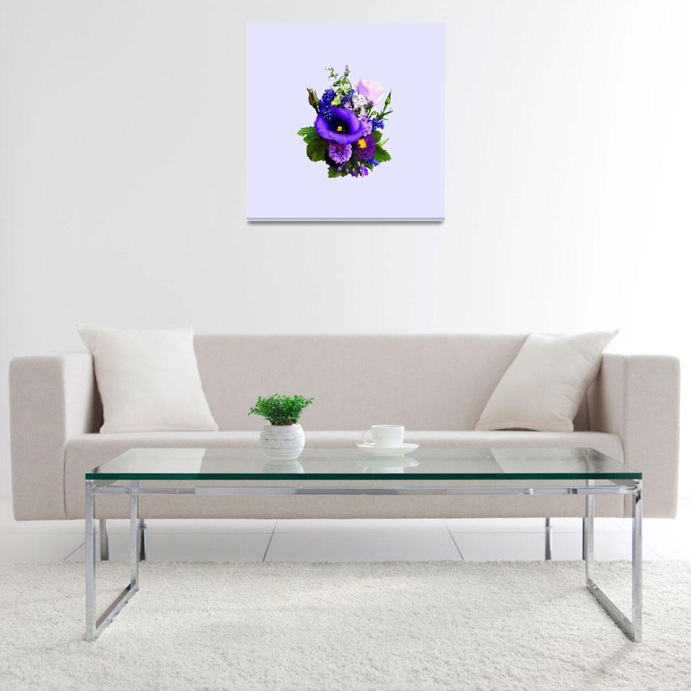 """Purple Bouquet With Lilies And Delphinium&quot  by susansartgallery"