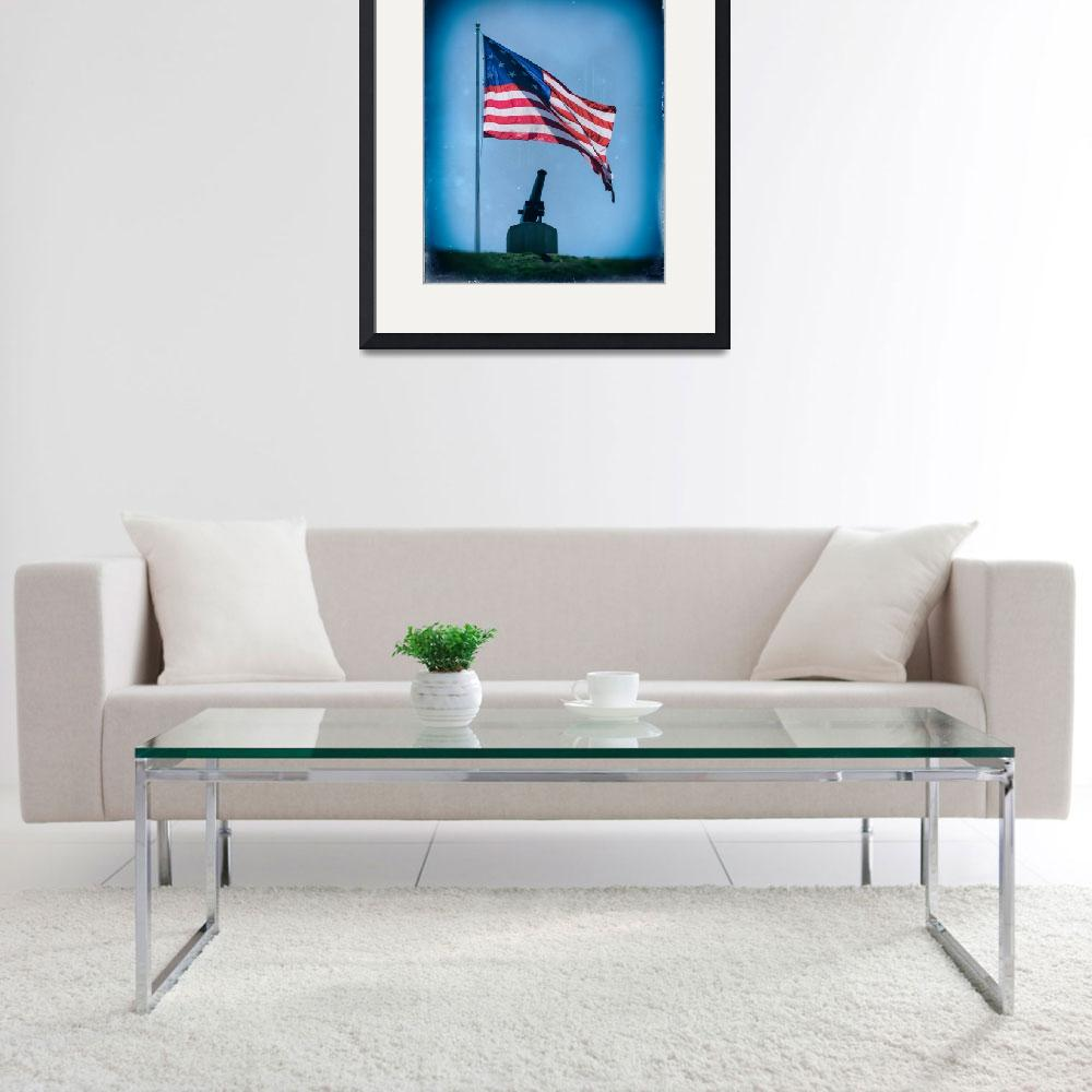 """""""Federal Hill Flag w Vintage Cannon over Baltimore&quot  by travel"""
