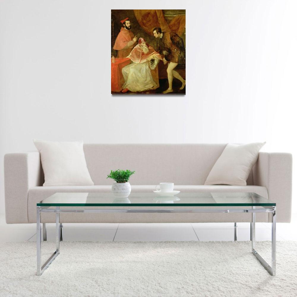 """""""Pope Paul III and his Nephews by Titian&quot  by fineartmasters"""