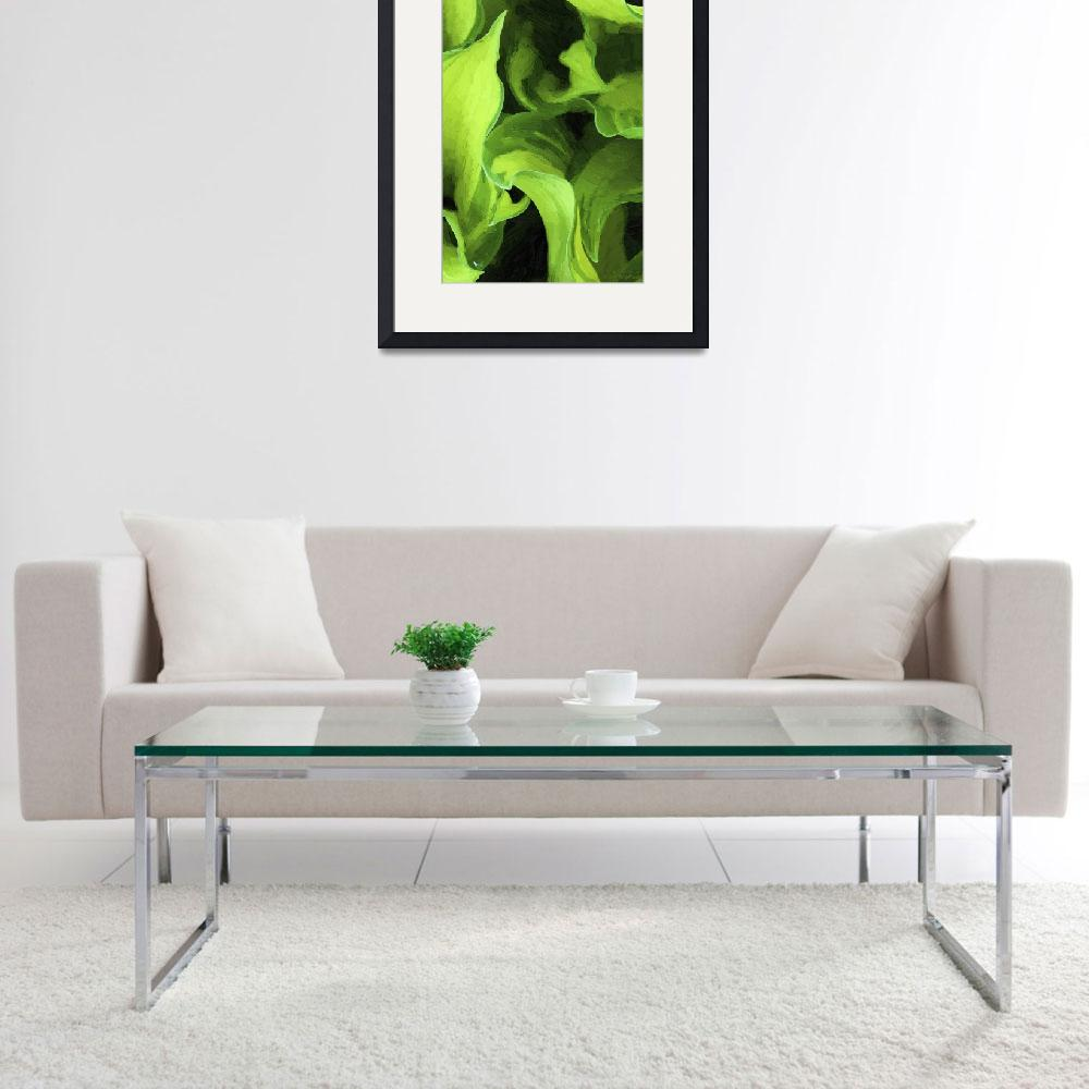 """""""Green Leaves Abstract Oil Painting&quot  (2012) by WallArtDeco"""