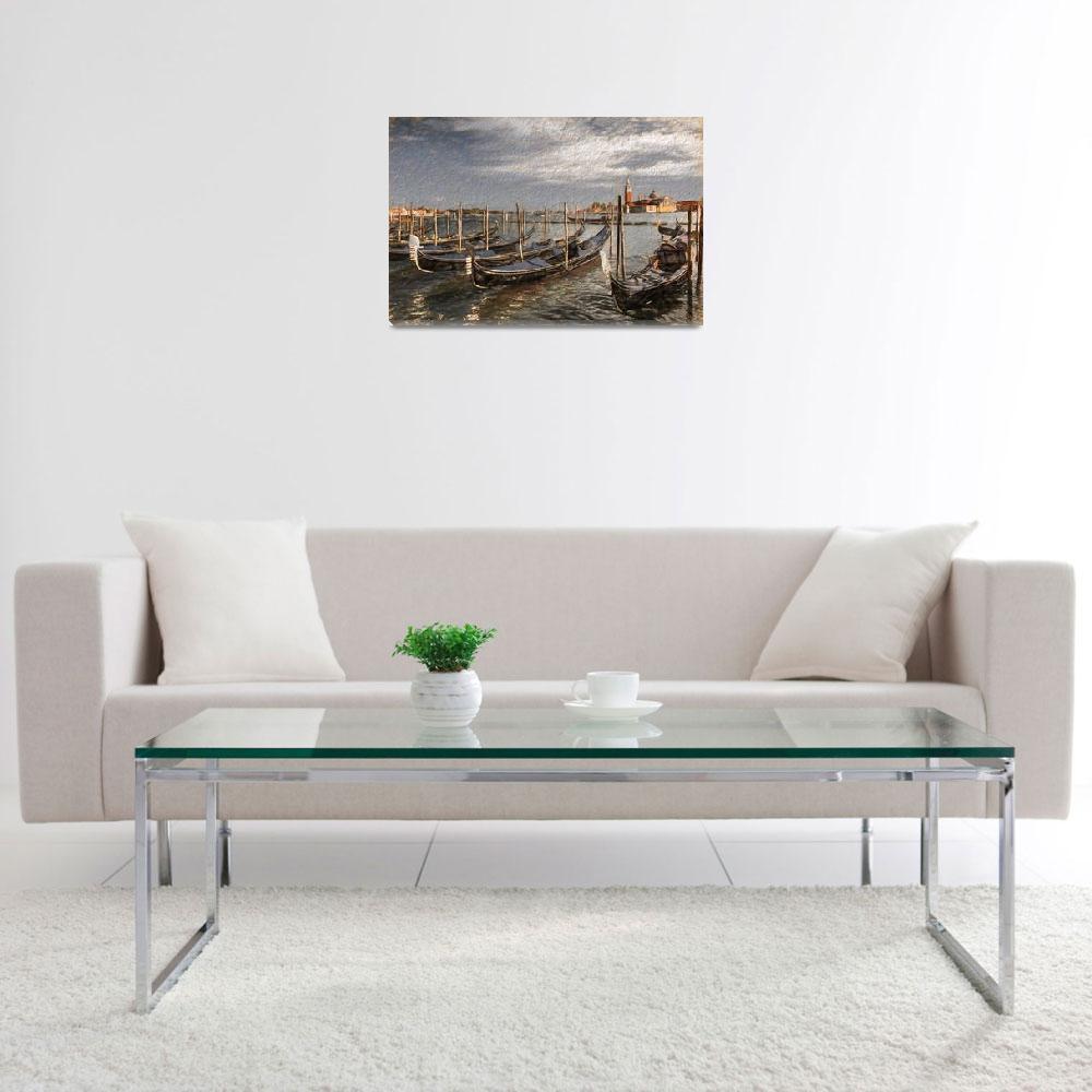"""""""Gondolas on a Venetian Canal""""  (2017) by SueLeonard"""
