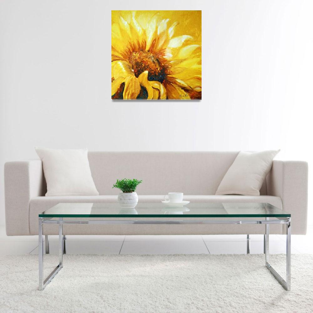 """Sunflower turning to the sun&quot  (2010) by art-miri"