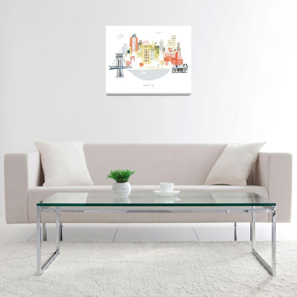 """Brooklyn Modern Cityscape Illustration""  by AlbieDesigns"