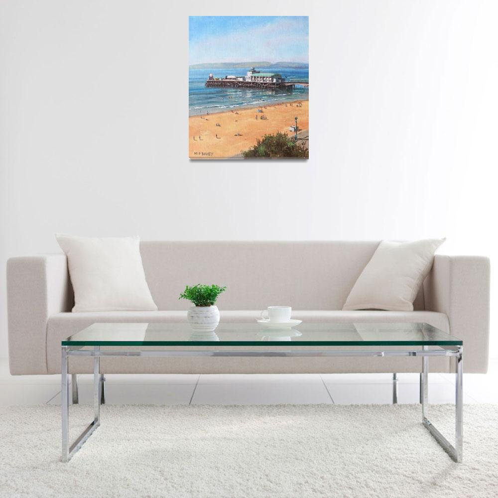 """""""Bournemouth Pier summer morning from cliff top&quot  (2014) by martindavey"""