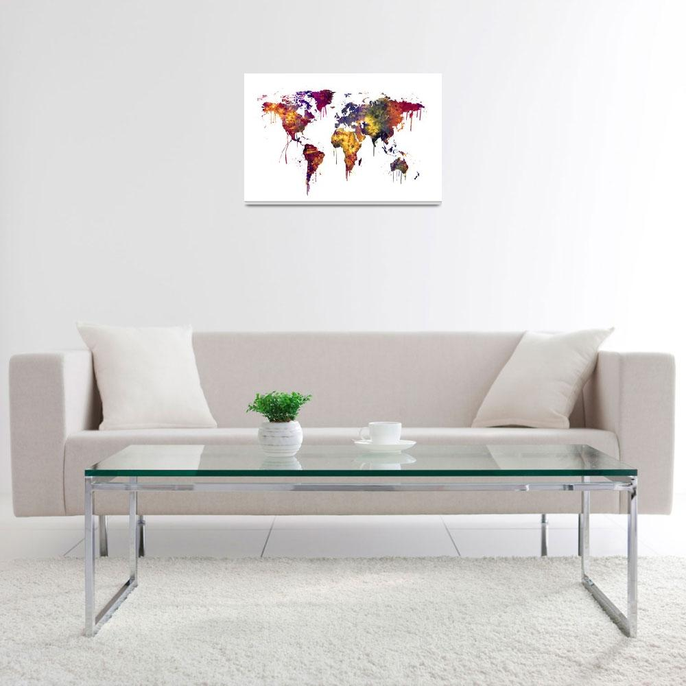 """Watercolor Map of the World Map&quot  (2016) by ModernArtPrints"