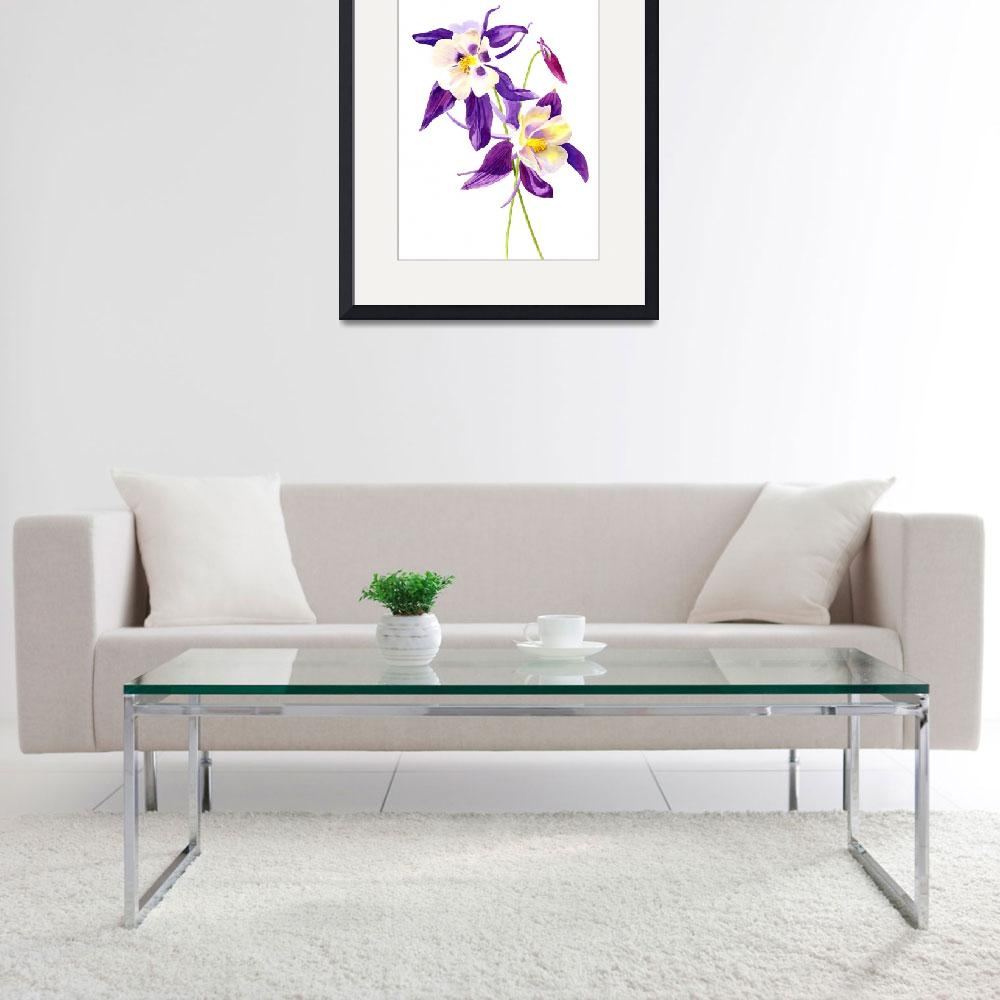 """""""Two Purple Columbine Flowers""""  (2014) by Pacific-NW-Watercolors"""